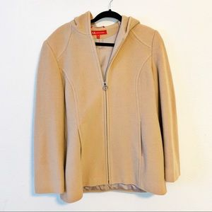 Anne Klein Wool Hooded Coat Zip Up Pockets EUC